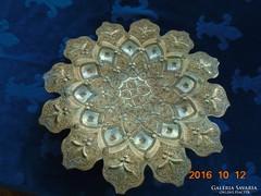 Múzeumi minőség Díszes rozettás arabeszk,csipkézett,iráni-perzsa fali tál-35 cm