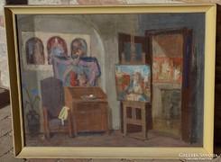 Piri Kálmán Műtermi részlet képcsarnokos 66x86cm