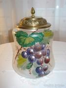 Réz fedelű, kézzel festett fújt üveg keksztartó, kb.: 1900