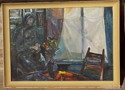 Göldner Tibor Parasztszoba képcsarnokos 56x76cm