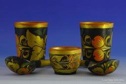 0I530 Orosz népművészeti festett fa tárgyak 5db