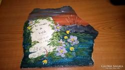 Különleges holland márványfestmény, bibliai idézettel, szig