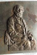 Antik öntöttvas Relief portré kép