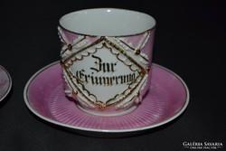 Antik, rózsaszínű lüsztermázas teás szett