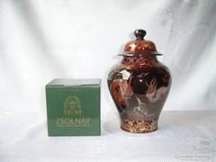 Zsolnay 928/40/6962 kéttüzű fedeles váza II. o.