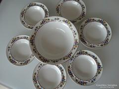Antik porcelán kompótos készlet, sorszámozott, jelzett