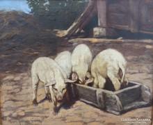 Rainerné Istvánffy Gabriella - Paraszt udvar, olaj festmény