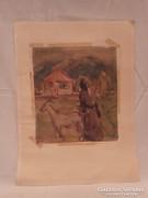 Alak kecskével akvarell festmény