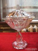 Bonbonier kínáló tartó talpas fedeles 3 részes üveg 24,5 cm