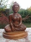 Keleti témájú fa szobor jelz.,kézi faragás  32x25 cm