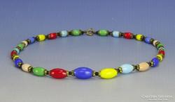 0I831 Régi üveg bizsu színes gyöngysor nyaklánc