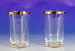 0I909 Régi aranyozott szélű üveg pohár pár