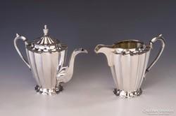 Ezüst art deco teáskanna és kiöntő