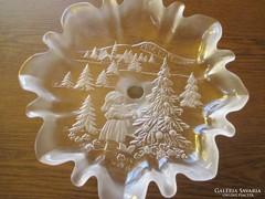 Karácsonyi anyagában mintás  üveg kínáló tál  Á010