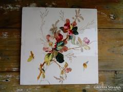 Antik majolika virágos betét ,lap,csempe,