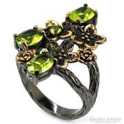 Természetes Zöld Peridot Ötvös 925 Ezüst Gyűrű 2 tónusú
