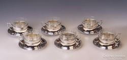 Ezüst art deco teáspohár készlet