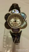 Luxus Abalone Paua kagyló ezüst karóra