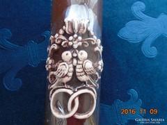 Gyűrűs,madárkás kézműves dombor esküvői gyertya-17 cm