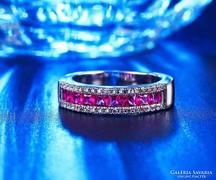 Lilás-rózsaszín köves ezüst gyűrű 9-es ÚJ!