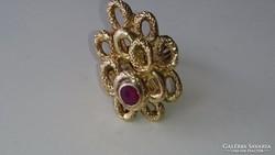 Arany 18 k. Pazar designer artdeco arany gyűrű (RUBIN)