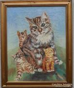 Cica macska olaj vászon festmény olajfestmény
