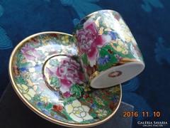 """Dombor mázas, kézzel festett """"1000 virág""""-mintás kínai kávés-(5)"""