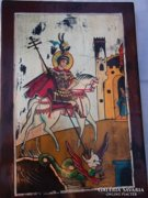 Új lengyel művészi munka-Sárkányölő Szent György ikon kézzel fest.ajándékba is