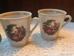 Irizáló, jelenetes kávés csészepár