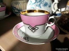 Régi porcelán, rózsaszín, fehér, arany, kávés csésze szett