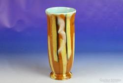 0J260 Retro csíkos kerámia váza 27 cm