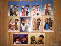 Babák népviseletben képeslap gyűjtemény, 10 db. képeslap