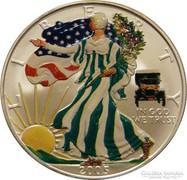 SZÍNEZÜST 1 unciás Liberty 2005 - színezett érme