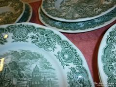 6 db. angol jelenetes tányér (3 lapos, 3 mély)