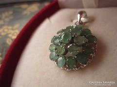 RITKASÁG! Tiszta, halványzöld SMARAGD 925 ezüst medál