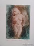 GULYÁS LÁSZLÓ RÉZKARC METSZETT GRAFIKA antik festmény ezüst