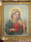 ANTIK Szűz Mária portré 50 cm x 40 cm, olaj -vászon