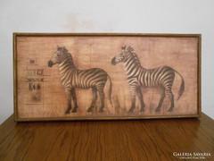 Afrikai falikép zebrás fa 61*28*4 cm