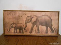 Afrikai falikép elefántos fa 61*28*4 cm