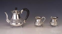 Ezüst  kávéskészlet florális díszítéssel