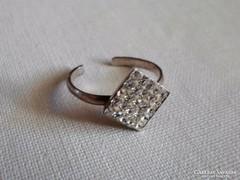 Szép régi kristályos nyitott ezüstgyűrű