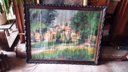 Óriási méretű antik keretben festmény 98 x 79 cm