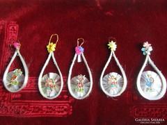 ANTIK üvegszállas karácsonyfadísz KARÁCSONY DARABÁRÚ