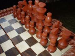 Új ! Sakk+egyéb játék díszes fa dobozában ajándéknak is
