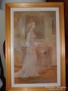 Kristófi János; Hölgy 50 cm x 30 cm, olaj,vászon,kerettel