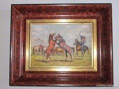 Gross J. jelzéssel; Ágaskodó lovak; 16 cm x 22 cm, olaj,fa