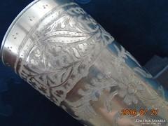 Bidriware,indiai ötvösmunka,ezüst berakásos  dísz váza-14 cm