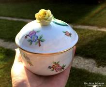 Herendi Eton bonbonier, cukortartó, sárga rózsás