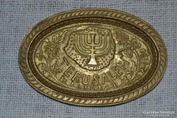 Réz Jeruzsálem Judaika kis tálca ( DBZ 0021 )
