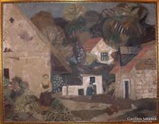 Scholz Erik festménye : Pilismaróti udvar c.